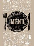 Diseño del menú del restaurante Cartel retro tipográfico con el sello y la comida a mano Ilustración del vector Fotos de archivo libres de regalías
