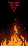 Diseño del menú del restaurante con la llama ilustración del vector