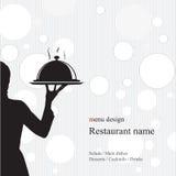 Diseño del menú del restaurante. Con la silueta Fotos de archivo