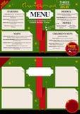 Diseño del menú del restaurante de la Navidad Imagen de archivo libre de regalías