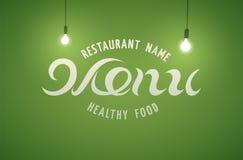 Diseño del menú del restaurante Fondo verde con las bombillas Ilustración del vector Imagenes de archivo