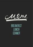 Diseño del menú del restaurante Ilustración del vector Foto de archivo libre de regalías