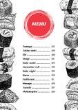 Diseño del menú del sushi del vector Foto de archivo libre de regalías