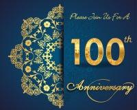 diseño del modelo de la celebración del aniversario de 100 años, 100o aniversario Foto de archivo