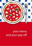 Diseño del modelo de menú de la pizza Foto de archivo libre de regalías