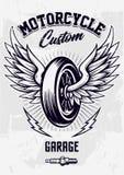 Diseño del motorista del vintage con la rueda coa alas fotografía de archivo
