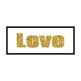 Diseño del oro de la tarjeta de felicitación del día del ` s de la tarjeta del día de San Valentín del ejemplo del vector con tip Foto de archivo libre de regalías