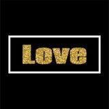 Diseño del oro de la tarjeta de felicitación del día del ` s de la tarjeta del día de San Valentín del ejemplo del vector con tip Foto de archivo
