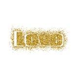 Diseño del oro de la tarjeta de felicitación del día del ` s de la tarjeta del día de San Valentín del ejemplo del vector con tip Fotos de archivo
