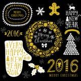 Diseño del oro del vector, Feliz Navidad y Feliz Año Nuevo caligráficos, manopla, guirnalda, marcos, muestra hecha a mano 2016 La Fotografía de archivo