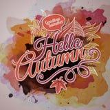 Diseño del otoño de la pintura de la acuarela del vector Fotos de archivo libres de regalías