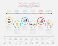 Diseño del paso del color con la plantilla/el gráfico de la cronología del icono del color o Foto de archivo libre de regalías