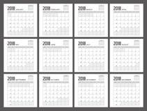 Diseño del planificador de 2018 calendarios imagen de archivo