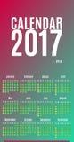 Diseño del planificador de 2017 calendarios Calendario mensual de la pared por el año Fotografía de archivo libre de regalías
