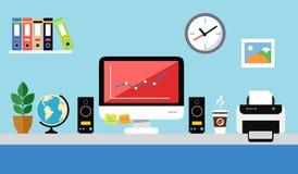Diseño del puesto de trabajo de la oficina libre illustration