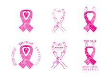Diseño del símbolo de la conciencia del cáncer de pecho Imágenes de archivo libres de regalías