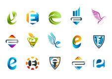 Diseño del símbolo del concepto de la letra e Imagen de archivo libre de regalías