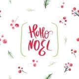 Diseño del scard de la Navidad con las bayas y las ramas del acebo con tipografía de las letras del noel del hoho Año Nuevo de la stock de ilustración