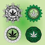 Diseño del sello del diseño de la hoja de la marijuana Foto de archivo