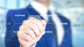 Diseño del sitio web, hombre que trabaja en el interfaz olográfico, pantalla visual ilustración del vector