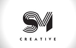 Diseño del SM Logo Letter With Black Lines Línea vector Illus de la letra Imagenes de archivo