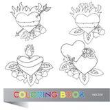 Diseño del tatuaje del corazón - libro de colorear Imagen de archivo libre de regalías