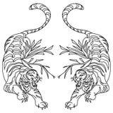Diseño del tatuaje del vector del tigre en el fondo blanco fotografía de archivo