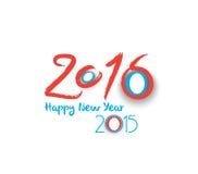 Diseño del texto de la Feliz Año Nuevo 2016 Foto de archivo libre de regalías