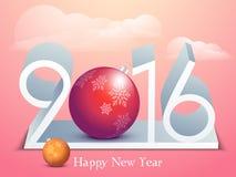 Diseño del texto de la Feliz Año Nuevo 2016 Imagen de archivo