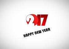 Diseño del texto de la Feliz Año Nuevo 2017 Fotografía de archivo