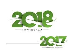 Diseño del texto de la Feliz Año Nuevo 2018 - 2017 Foto de archivo libre de regalías