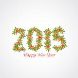 Diseño del texto de la Feliz Año Nuevo 2015 con el muérdago Fotos de archivo libres de regalías