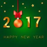 Diseño del texto de la Feliz Año Nuevo 2017 El ejemplo del saludo del vector con las bolas de la Navidad arquea y las estrellas Imagen de archivo
