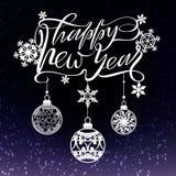 Diseño del texto de la Feliz Año Nuevo para el corte del laser Logotipo del vector con los elementos de la Navidad Usable como ba ilustración del vector