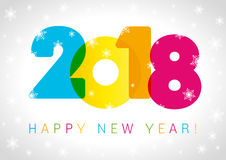 Diseño del texto de la tarjeta de la Feliz Año Nuevo 2018 Fotografía de archivo