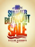 Diseño del texto de la venta del escape del verano con el contexto tropical Fotografía de archivo