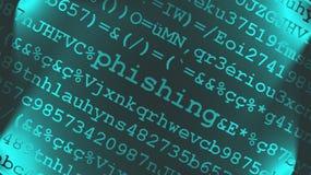 Diseño del texto de Phishing Imagen de archivo libre de regalías