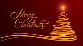Diseño del texto del oro de Feliz Navidad y de la Navidad Imágenes de archivo libres de regalías