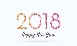 Diseño del texto del deseo del vector del fondo de la tarjeta de felicitación de la Feliz Año Nuevo 2018 ilustración del vector