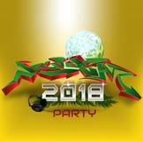 Diseño del texto del partido del Año Nuevo 2018 Diseño de la tarjeta de felicitación con la pintada 3D Ilustración del vector Foto de archivo libre de regalías