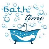 Diseño del tiempo del baño con las letras Fotografía de archivo