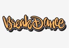 Diseño del tipo personalizado del estilo de la etiqueta de la pintada de las letras de Breakdance Hip Hop Fotografía de archivo libre de regalías