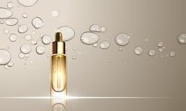 Diseño del tratamiento del skincare de la botella del suero del colágeno ilustración del vector