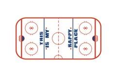 Diseño del vector del campo del hockey sobre hielo Éste es mi lugar feliz libre illustration
