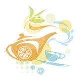 Diseño del vector con los elementos del té Imagen de archivo