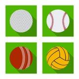 Diseño del vector de deporte y de símbolo de la bola Colección de deporte y de ejemplo común atlético del vector ilustración del vector