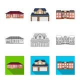 Diseño del vector de edificio y de icono delantero Sistema del ejemplo común del vector del edificio y del tejado ilustración del vector