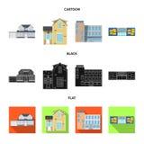 Diseño del vector de edificio y de logotipo delantero Colección de símbolo común del edificio y del tejado para el web stock de ilustración