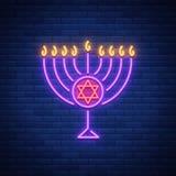Diseño del vector de Hanukkah - Jánuca feliz Señal de neón, bandera luminosa brillante para las tarjetas de felicitaciones Día de
