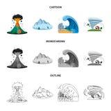 Diseño del vector de icono natural y del desastre Sistema del icono natural y del riesgo del vector para la acción libre illustration